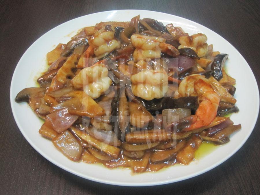 Γαρίδες με Κινέζικα μανιτάρια με μπαμπού
