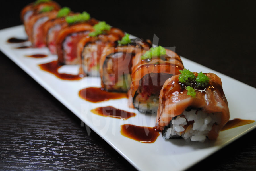 Special salmon sushi